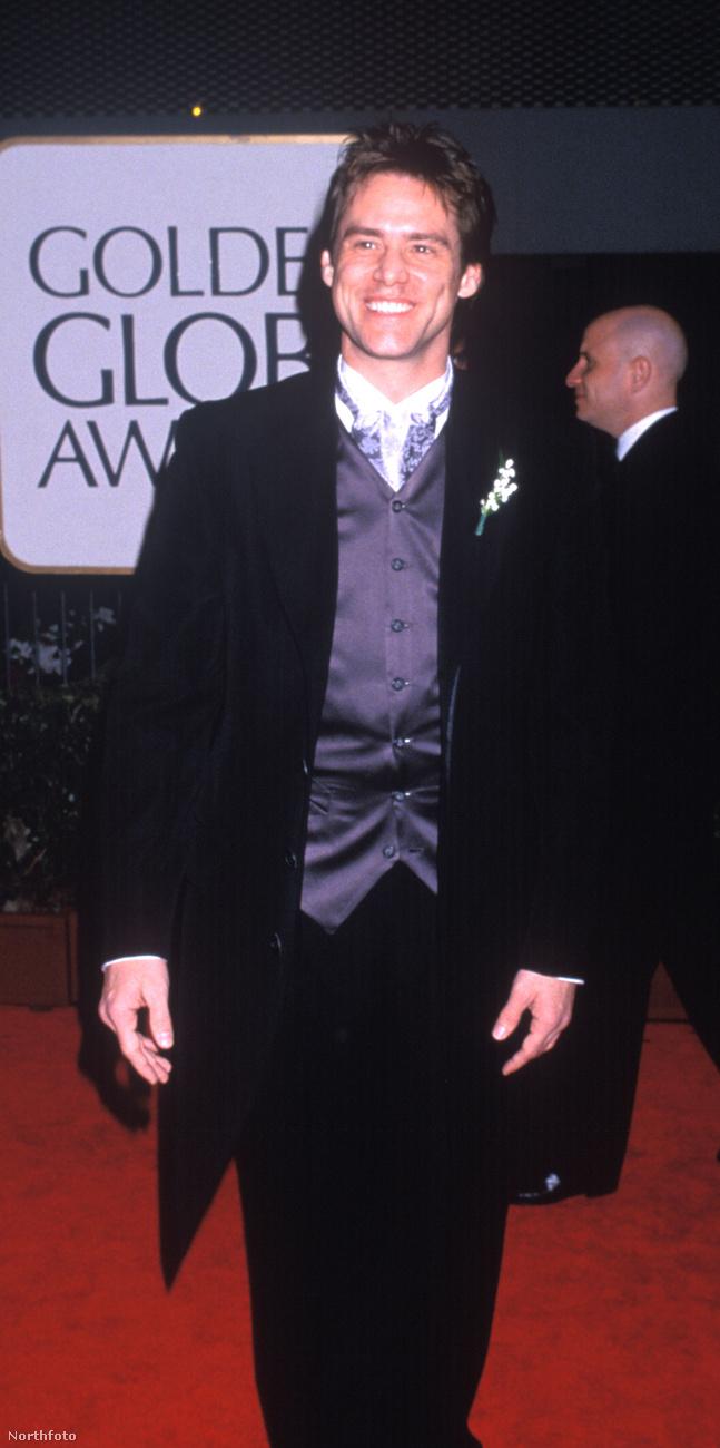 a mostanában sok nehézségen átment, de ekkor még gondtalannak tűnő Jim Carrey-t