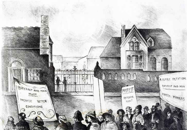 Sztrájkoló gyufagyári munkások Londonban 1888-ban