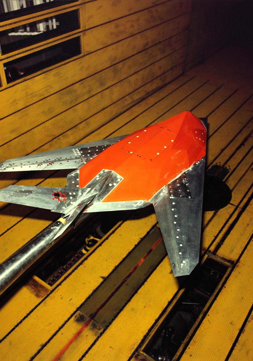 Az F-117 modellje szélcsatornában, a nyolcvanas évek elején.