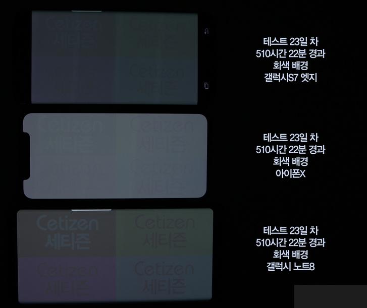 Szellemképes OLED kijelzők. Felül az S7 Edge, középen az iPhone X, alul a Note 8.