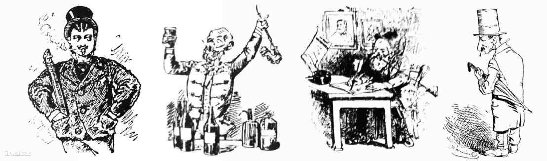 Négyen a Borsszem Jankó állandó szereplői közül: Bukovay Absentius, Ruchaháti Tarjagos Illés Úr, Tojáss Dániel és Sanyarú Vendel.