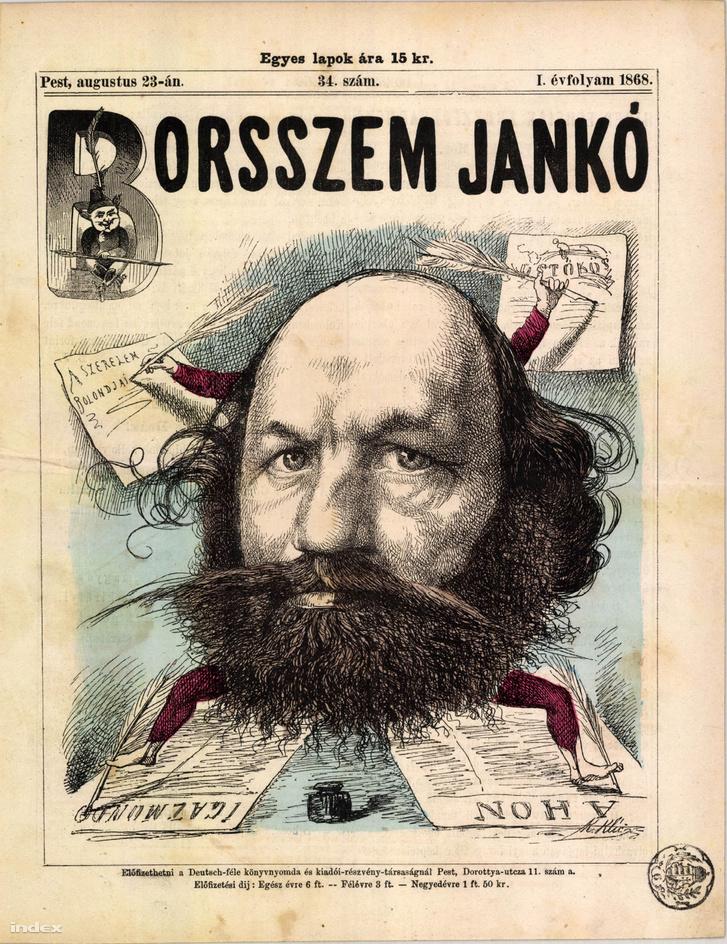 Jókai Mór egy 1868-as címlapon. Forrás: Arcanum