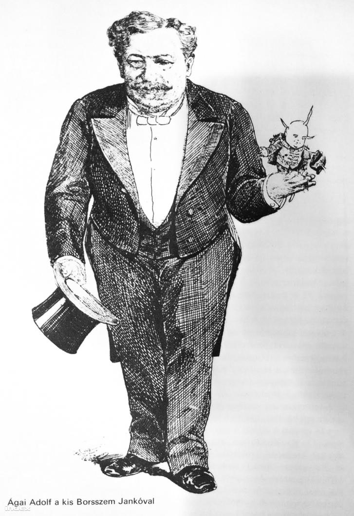 A lapalapító Ágai karikatúrája.