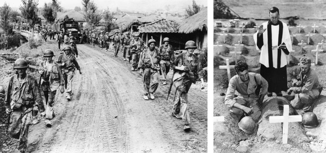 Bal: Szöulból visszavonuló amerikai katonák 1950-ben - jobb: Társukat gyászoló katonák egy Koreában 1950 augusztusában