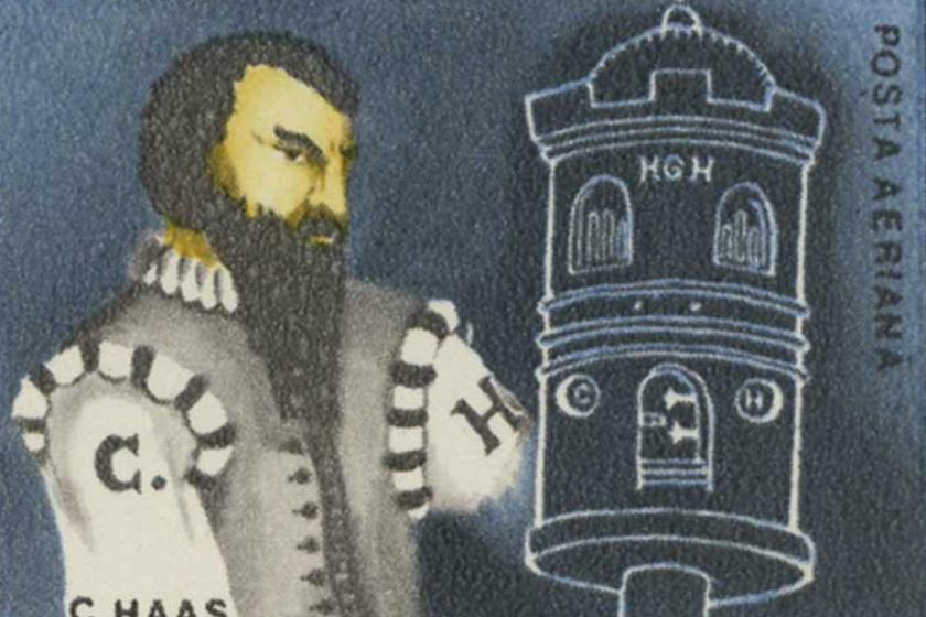 Conrad Haas egy román bélyegen