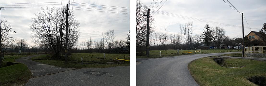 Kéthely: a Honvéd utcai helyszín két képen, balra a szennyvízátemelő. A kiszemelt telket minden képen jól jelöli a frissen bekötött közművek fehér szekrénye.