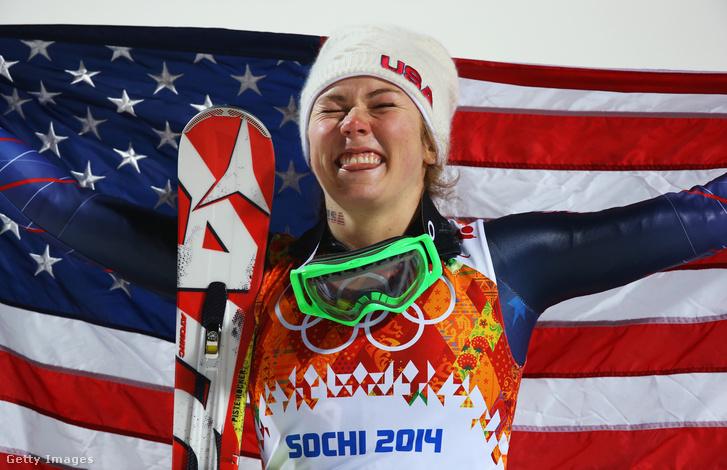 Shiffrin 2014-ben a szocsi olimpia dobogóján