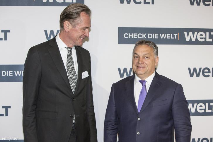 Orbán Viktor miniszterelnököt fogadja Mathias Döpfner az Axel Springer német médiakonszern vezérigazgatója