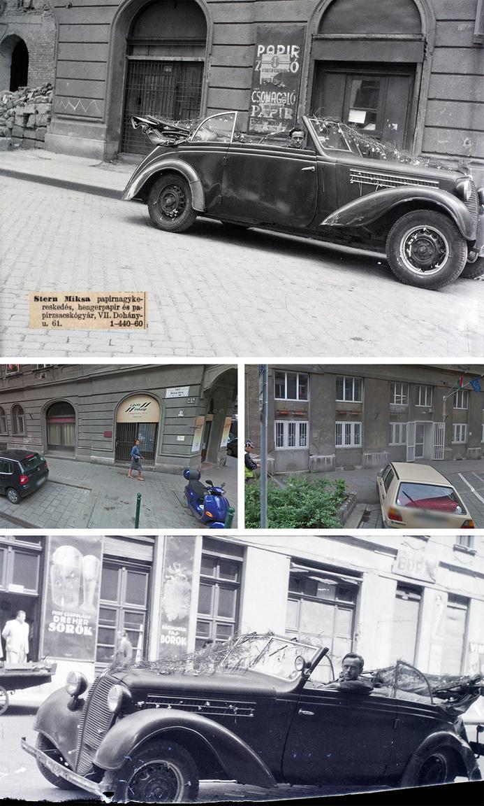 Két olvasónk is felismerte és streetview fotókkal bizonyította Hámori Gyula esküvői kocsis fotójának helyszínét. Mi a Zsidónegyedre tippeltünk, de nem lett igazunk. A kocsi a Rózsa utca 40b előtt áll. Kiderült, hogy egy párja is van a Fortepanon, így két oldalról is láthatjuk a virágfüzéres autót. Félrevezető volt, hogy Stern Miksának volt egy papírkereskedése a Dohány utcában (is). Szintén zavaró, hogy a háttérben látható Rózsa utca 47b ma más képet mutat. Az eredeti, nagy belmagasságú földszinti üzlet kapott egy középső új födémet, vagyis vizszintesen félbevágták a teret. Ezért az ablakok ma nagyon másképp néznek ki, mint az archív képen.