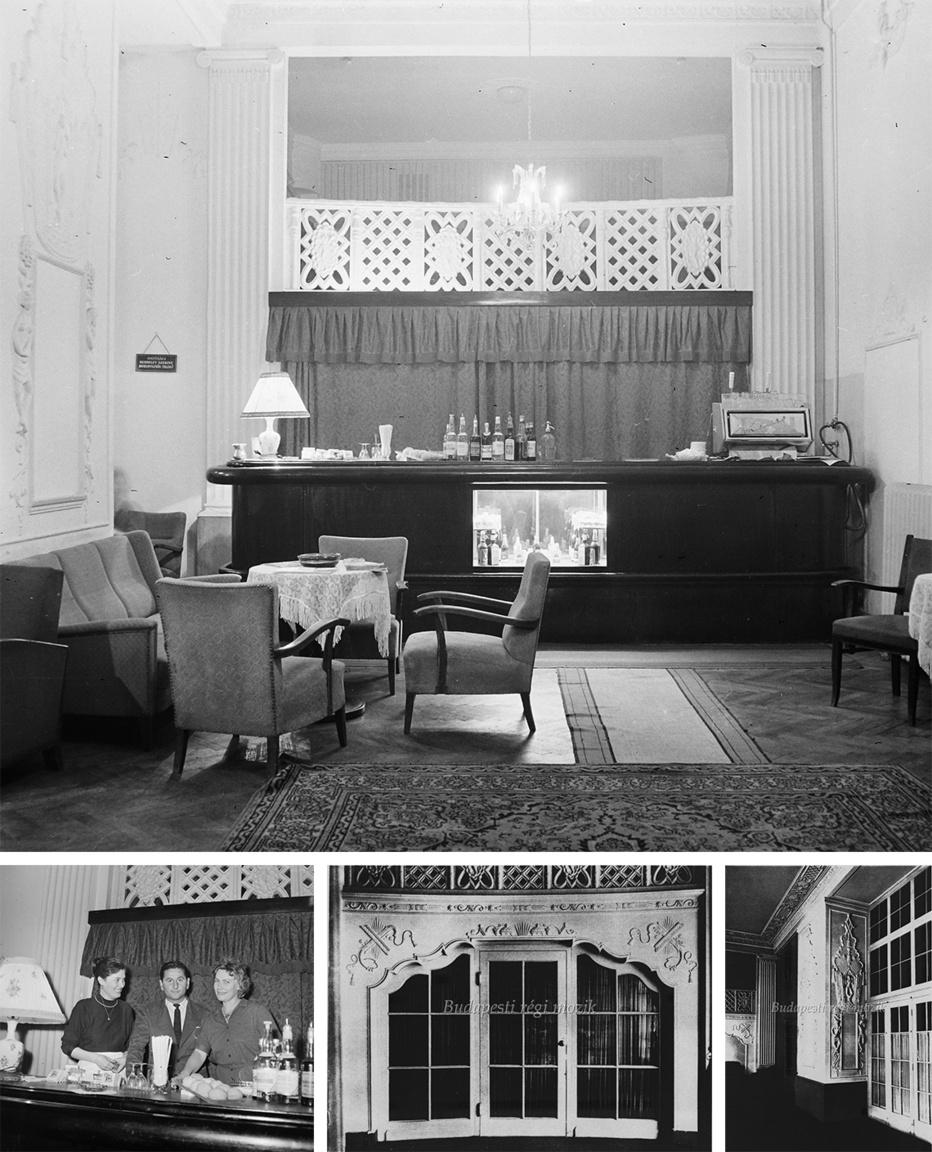 Meglepő, de sikerült megfejteni Bauer Sándor büfé/bár fotóját. Ehhez is találtunk egy kiegészítő képet, ahol a személyzet is látható. A fotók a volt Télikert mulató, majd Renaissance filmszínház, a kép készítésekor Petőfi Színház társalgójában készültek. A 60-as évektől több színház váltotta egymást az épületben, ma a Thália Színház otthona.