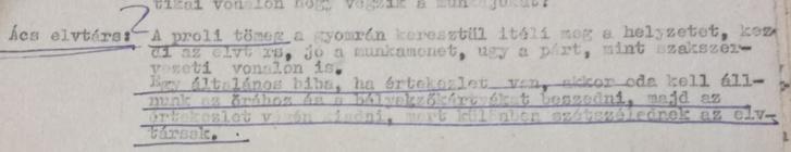 1949. november 4-ei pártbizottsági ülés jegyzőkönyve, részlet