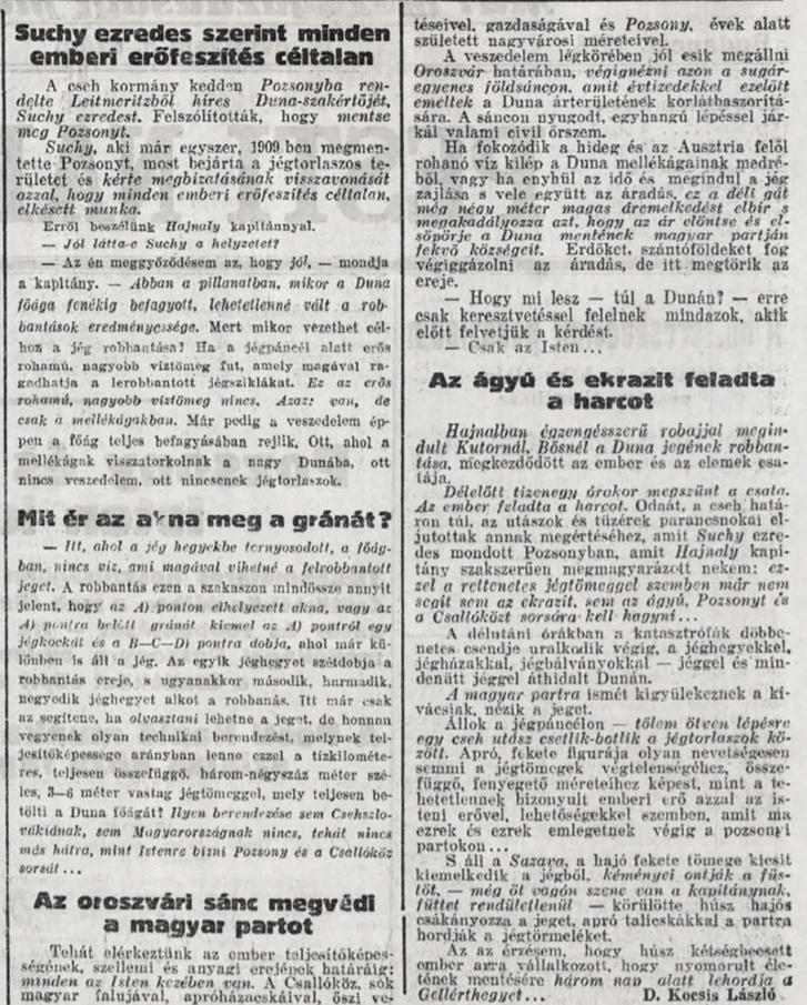 A Pesti Napló 1928. január 28-i cikke