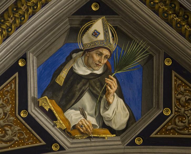 Nagy Szent Albert (Albertus Magnus) egy templomi freskón, a polihisztor, aki a legenda szerint egy robotot is készített