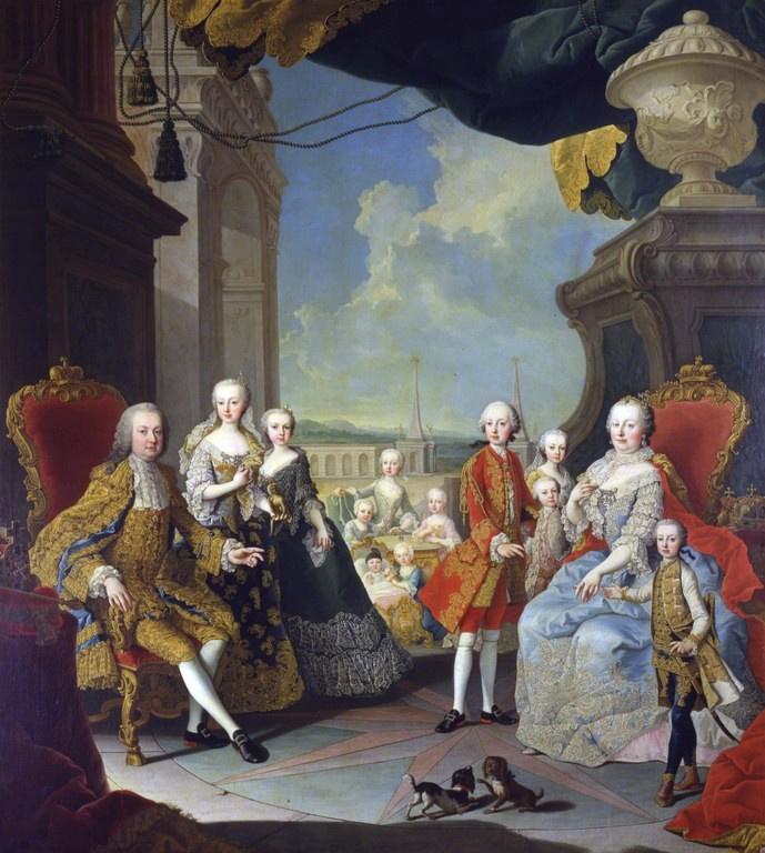 Mária Terézia császár/királynő és Ferenc császár gyerekeik egy részével 1754-56 körül (Martin van Meytens festménye)