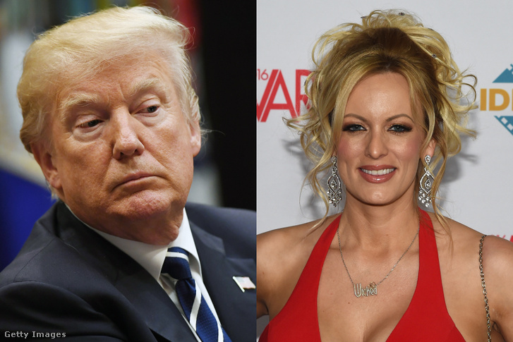 Bal oldalt Donald Trump, jobb oldalt Stormy Daniels