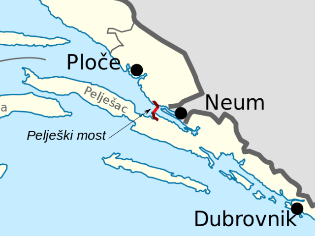 Pelješac Bridge location. Photo Wikimedia Commons 640.png