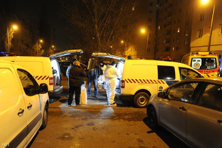 Bűnügyi helyszínelők január 13-án Rákoskeresztúron, az Újlak utcában