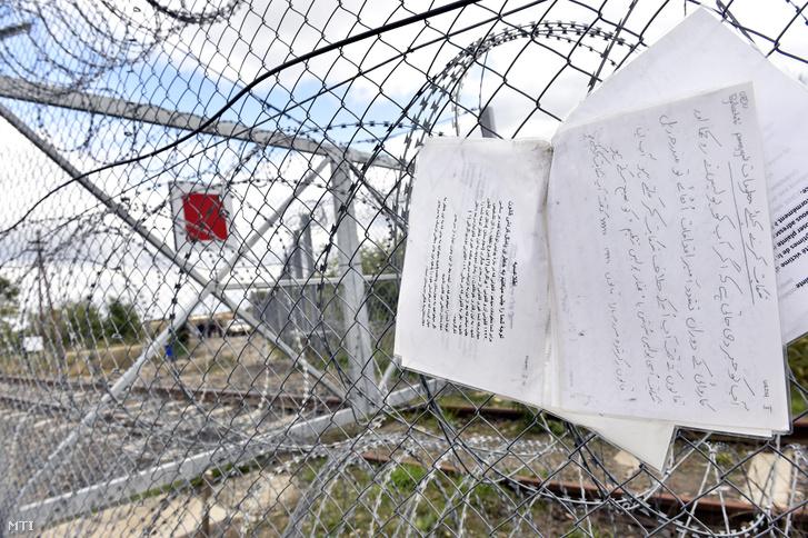 Idegen nyelven írt útbaigazító feliratok amelyek a legközelebbi tranzitzóna felé irányítják a menekülteket a Röszke közelében lévõ vasúti határátkelõ kerítésén