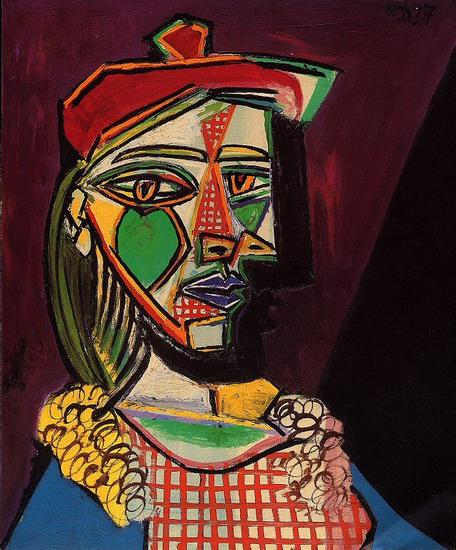 Picasso: Nő sapkában és kockás ruhában (Femme au béret et à la robe à carreaux) 1937