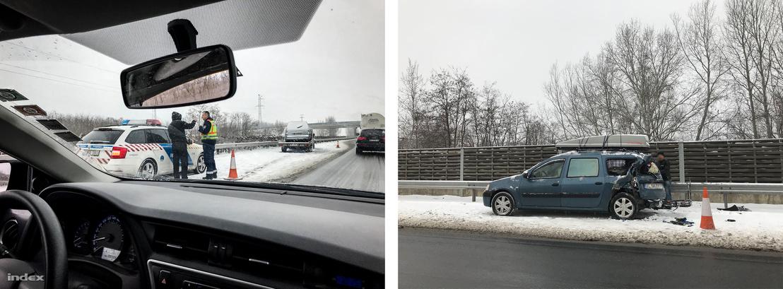 Az M5-ösön balesetet szenvedett autók