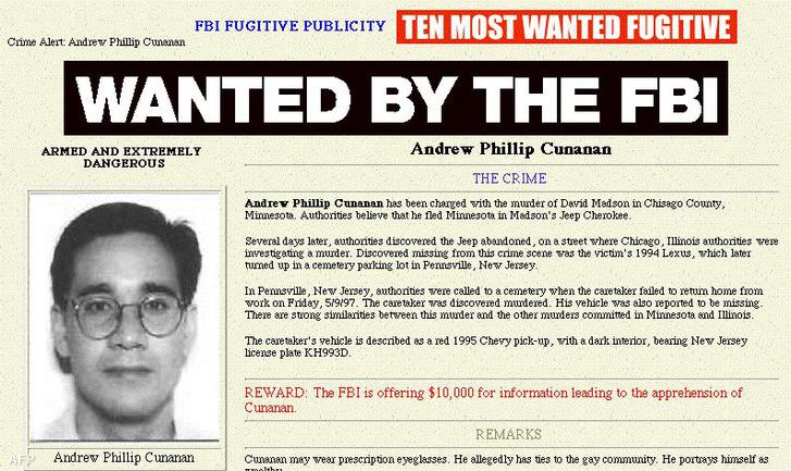 Andrew Phillip Cunanan körözési képe az FBI honlapján