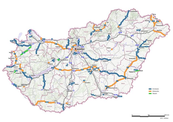 A 2022 végéig megépített és előkészített gyorsforgalmi utak