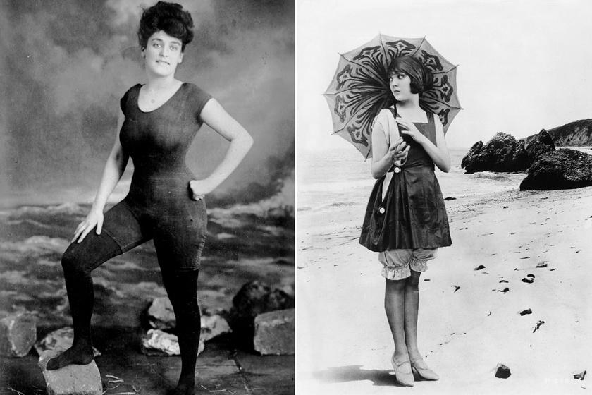 Annette Kellermann profi úszót, színésznőt és írót a bal oldali fotó miatt 1907-ben letartóztatták illetlen viselkedés vádjával, mert testhez simuló fürdőruhája túl sokat mutatott. A jobb oldali fotón látható viselet volt az elfogadott akkoriban.