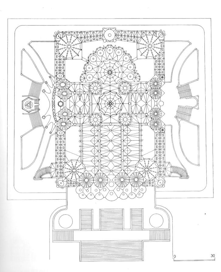 A Sagrada Família alaprajza, a boltozati rendszer feltüntetésével