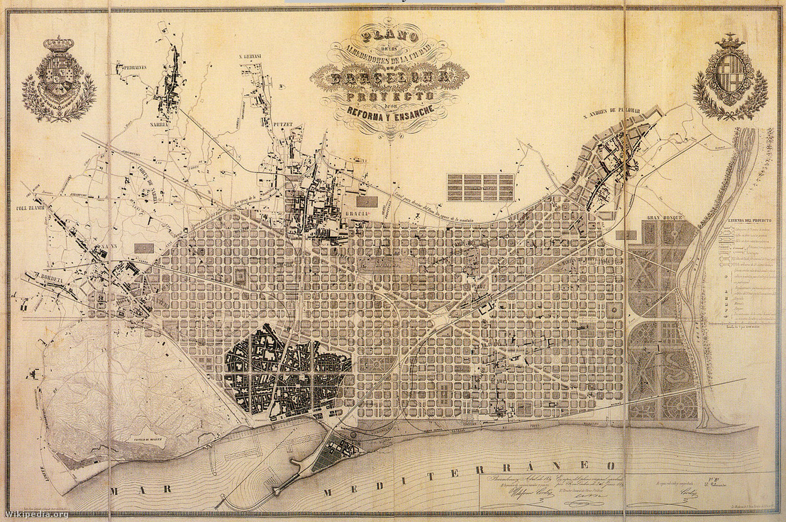 Ildefons Cerdà urbanisztikai terve Barcelona új városrészéről (1859). Ez a terv ugyan csak második lett a pályázaton, de megvalósult