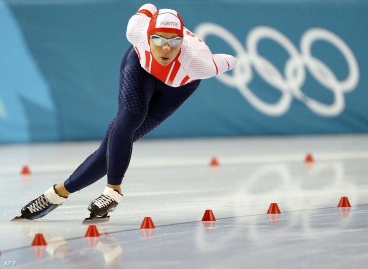 Az osztrák színekben versenyző Hunyady Emese a Salt Lake City-i téli olimpia női 1500 méteres gyorskorcsolyaversenyében Salt Lake Cityben 2002. február 20-án.
