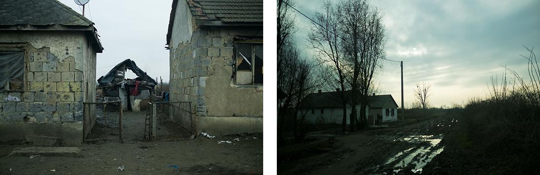 Balra a cigánysor egy részlete, jobbra egy utcavég Ópályi másik végén, ahová több család is költözött a szegregátumból