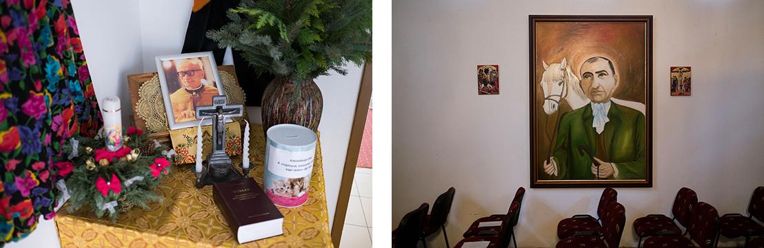 Sója atyára emlékező asztal a közösségi térben és egy roma boldogot ábrázoló kép a hodászi templomban