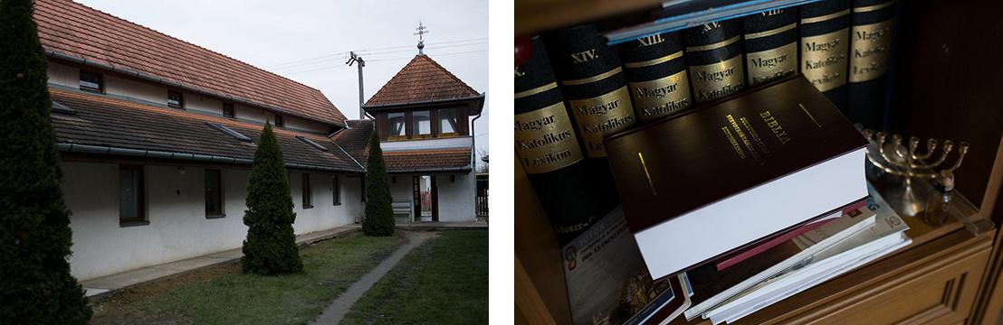 A hodászi szociális intézmények a hodászi templom mellett és a roma nyelvre fordított Biblia Gelsei ópályi irodájában