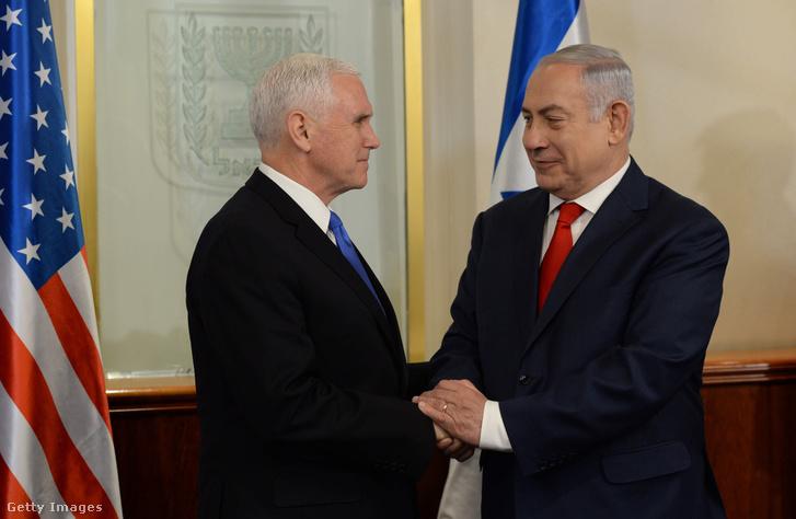 Pence és Netanjáhú Izraelben 2018 január 22-én