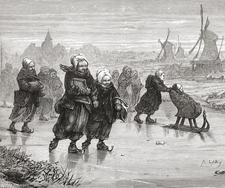 Iskolába korcsolyával igyekvő iskolások Hollandiában a XIX. században
