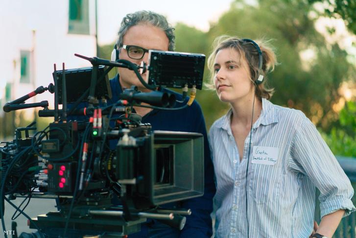 Greta Gerwig a Lady Bird forgatásán