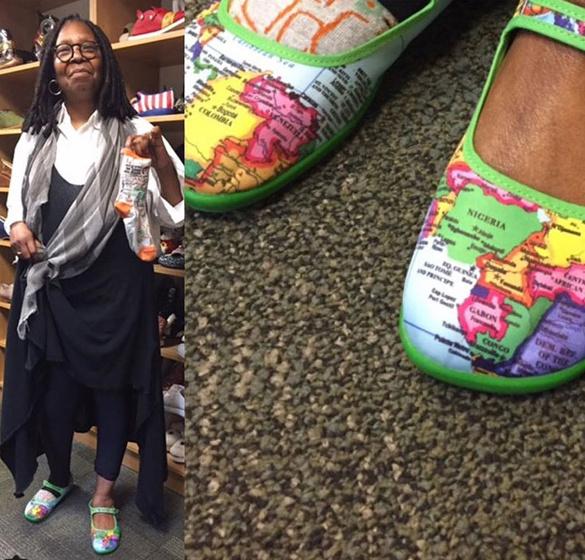 Ez az egyetlen cipő, amit mi is felvennénk. Egy világtérképet ábrázol, ezzel pedig az eltűnt gyerekek felkutatásának támogatására buzdította követőit.