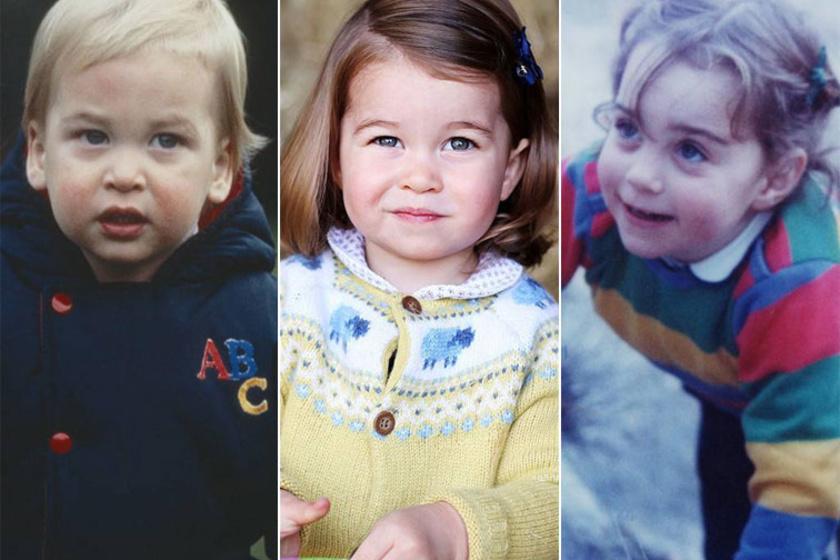 Charlotte hercegnő bal oldalán Vilmos herceg, jobb oldalán Katalin hercegné gyerekkori fényképe. Katalin is szép volt, de lánya nem az ő vonásait örökölte.