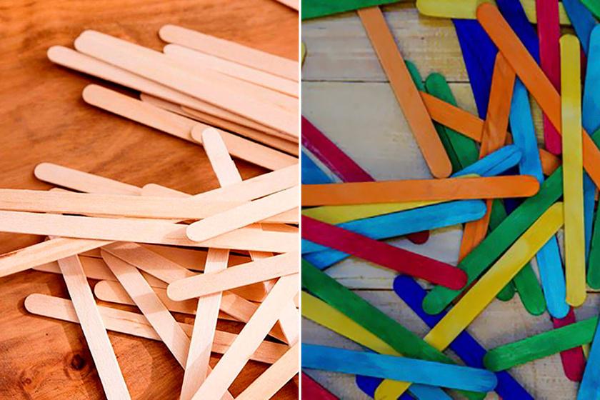 Bovadeez a pálcikákat különböző színűre festette, majd eszerint kategóriákba sorolta, és befőttes üvegbe rendezte őket.