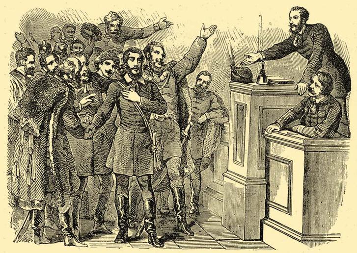 Kossuth kormányzóvá választása korabeli metszeten