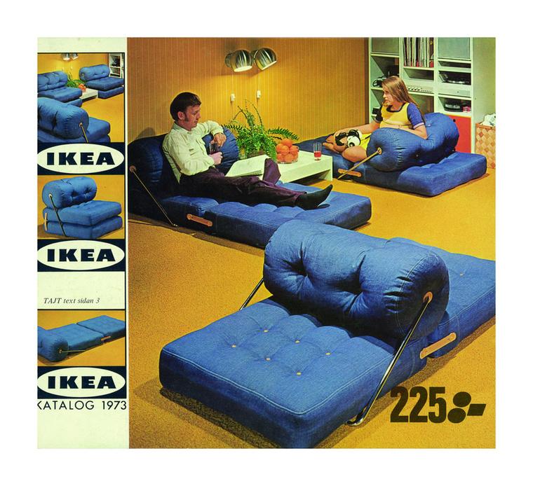 A dizájn és az újító ötletek, a funkcionalitás, mindig alappillérei voltak a cégnek, ez az 1973-as katalógus például akkor mindenkit meghökkentett, hiszen farmert használtak bútorhuzatként, így strapabíró lett ez a többfunkciós alkalmatosság, ráadásul olcsó is maradt