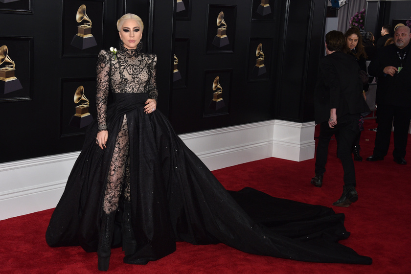Lady Gaga egy lélegzetelállító estélyiben érkezett a Grammy-re - az ő Armani Prive-ruhája volt az est egyik legnagyobb látványossága.