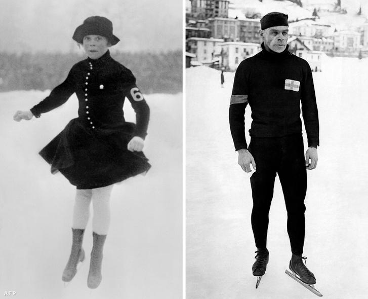 Sonja Henie norvég műkorcsolyázó és Clas Thunberg finn gyorskorcsolyázó Chamonix-ban 1924-ben