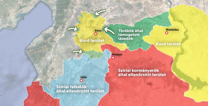 A nyilak Törökország felől az Olajág hadműveletben érintett területeket jelölik.