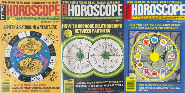 Néhány Dell Horoscope címlap a hetvenes-nyolcvanas évek fordulójáról