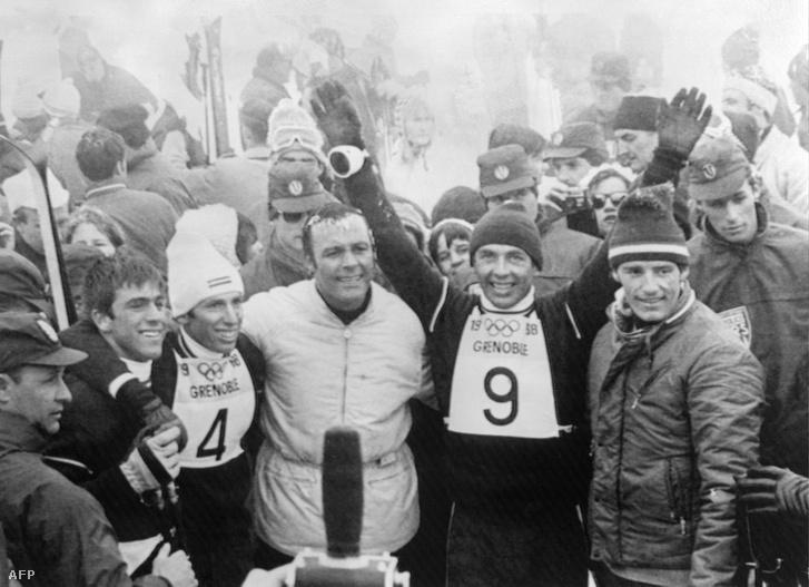 Az osztrák Karl Schranz és Alfred Matt, a svájci Herbert Huber és Toni Sailer és a francia Jean-Claude Killy 1968. február 17-én