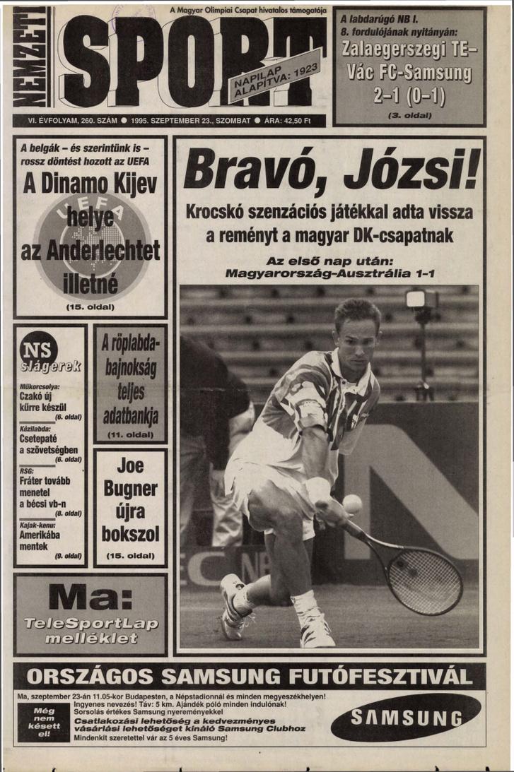 A Nemzeti Sport címlapja a Krocskóról