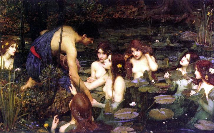 Waterhouse: Hülasz és a nimfák, Manchester Art Gallery 1896.15 (1)