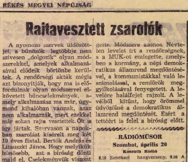 Részlet a Békés Megyei Népújság 1957. április 20-i cikkéből