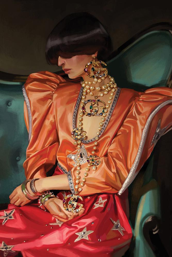A Gucci élelmes volt, az Ignasi Monreal féle illusztrációkat pólókra is rányomta, 790 dollárért, kb.196 ezer forintért bárki megveheti aki akarja.